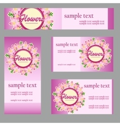 Cards with floral disign for your business needs vector