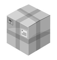 Closed box icon gray monochrome style vector image