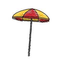 color crayon stripe beach umbrella vector image