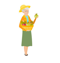 Farmer harvesting harvest of vegetables and fruits vector