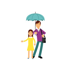father with his daughter standing under umbrella vector image vector image