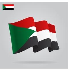 Flat and waving Sudan Flag vector image vector image