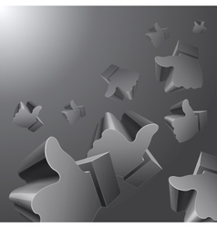 Flying 3d like symbols on grey background vector