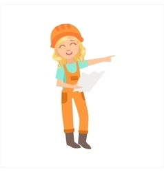 Girl work superintendent executing construction vector