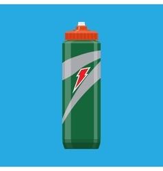 Green plastic sports bottle hydro flask water vector