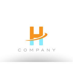 H orange blue logo icon alphabet design vector