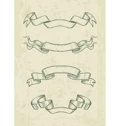 Hand drawn vintage ribbons vector