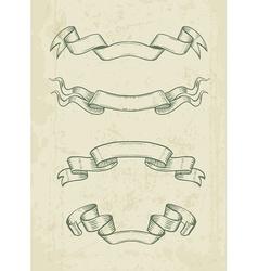 Hand drawn vintage ribbons vector image vector image