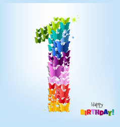 happy birthday postcard one year vector image vector image