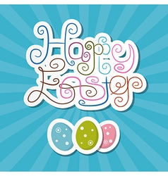 Happy Easter Paper Retro Blue Background vector image