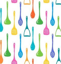 Kitchen accessories ink hand drawn pattern vector