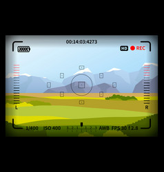 landscape with reflex photo camera viewfinder vector image
