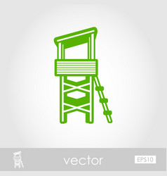 Lifeguard tower outline icon summer vacation vector