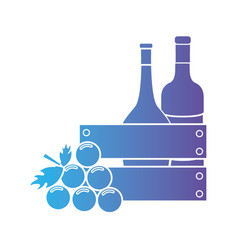 Line wine bottles inside wood box and grape fruit vector