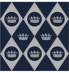 Modern diamond pattern with royal crown vector