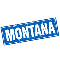 Montana blue square grunge vintage isolated stamp vector