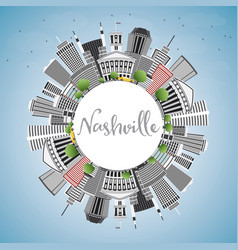 Nashville skyline with gray buildings blue sky vector