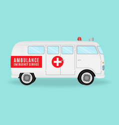 Retro ambulance car emergency medical service vector