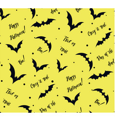 Seamless pattern of bat on yellow black vector