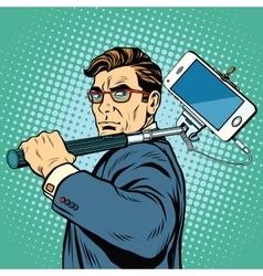 Selfie man blogger smartphone vector