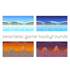 Set of 4 seamless game backgrounds vector