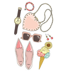 Set of female accessories in pink color vector
