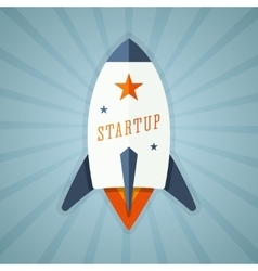 Startup with rocket vector image