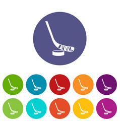 Stick and puck set icons vector