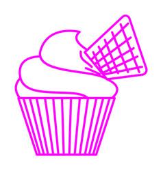 Waffle cupcake vector
