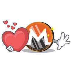 With heart monero coin character cartoon vector