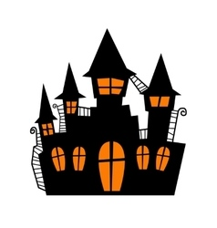Scary old castle for halloween party poster vector