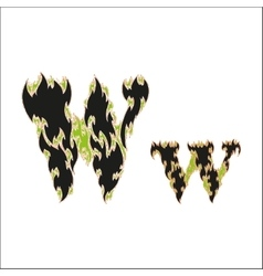 Fiery font black and green letter w on white vector