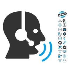 Operator speech sound waves icon with copter tools vector