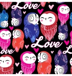 Seamless bright pattern with owls in love vector image