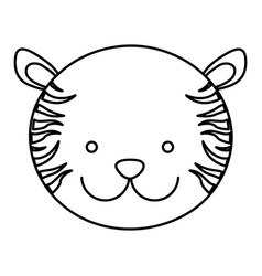 Frotn view silhouette face cute tiger animal vector