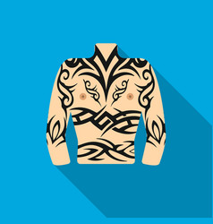 body tattoo icon flate single tattoo icon from vector image