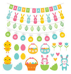 Easter decoration and cartoons set vector