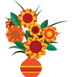 retro colourful vase with sunflowers vector image