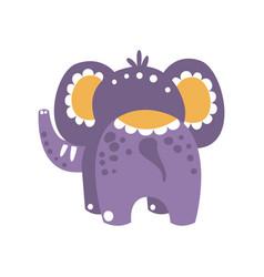 Cute cartoon elephant character back view vector