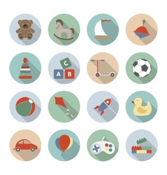 Toys Flat Icons vector image
