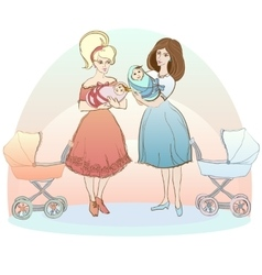 Two women with babies vector