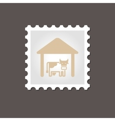 Cowshed stamp outline vector