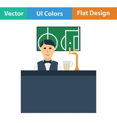 Sport bar stand with barman icon vector