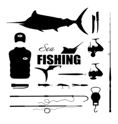 Set items fisherman  Sea fishing vector image