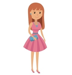 A teenage girl dressed on vector