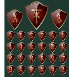 Alphabet on the shields vector image vector image