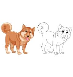 Animal outline for shiba dog vector