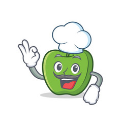 Chef green apple character cartoon vector