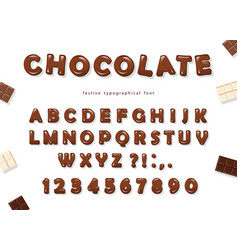 Chocolate font design sweet glossy abc letters vector