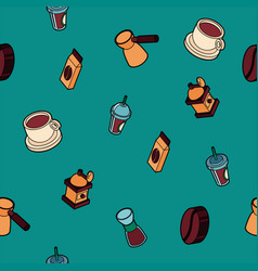 coffee colored outline isometric pattern vector image